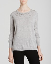 Dylan Gray Jeweled Neck Cashmere Sweater Fog