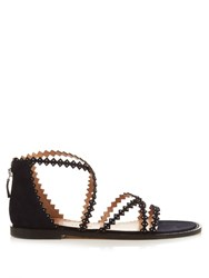 Alexa Wagner Thrilly Scallop Strap Sandals Navy