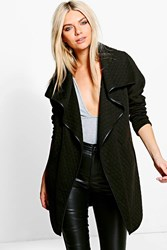 Boohoo Quilted Waterfall Jacket Black