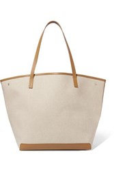 The Row Park Xl Leather Trimmed Canvas Tote Beige