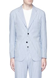 Camoshita Stripe Cotton Silk Seersucker Soft Blazer Blue