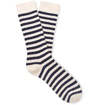 The Workers Club Striped Ribbed Cotton And Nylon Blend Socks Neutrals