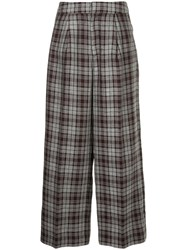 Cityshop Plaid Wide Leg Trousers Red
