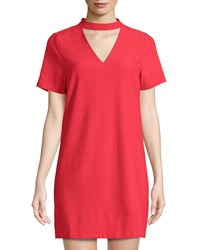 Bishop Young Sasha Choker Neck Shift Dress Red