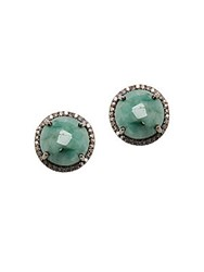 Adornia Echo Emerald And Diamond Stud Earrings Silver