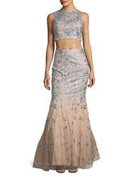 Xscape Evenings Floral Motif Crop Top And Skirt Nude Silver