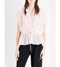 Givenchy Ruffled Cotton And Silk Blend Top Pale Pink