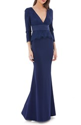 Js Collections Lace And Crepe Peplum Gown Navy