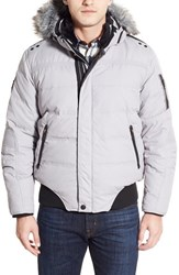 Men's Point Zero Water Resistant Hooded Down Parka With Faux Fur Trim Light Grey