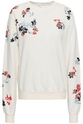 7 For All Mankind Woman Embroidered French Cotton Terry Sweatshirt Ivory