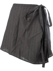 Y Project Tie Waist Asymmetric Skirt Grey