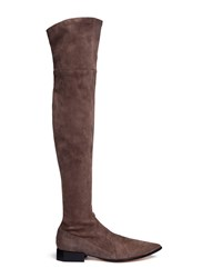 Sigerson Morrison 'Berry' Octagon Heel Suede Thigh High Boots Grey