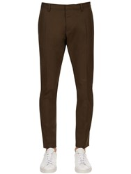 Dsquared 16.5Cm Tidy Cotton Twill Chino Pants Military Green