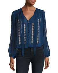 Band Of Gypsies Yoryu Embroidered Blouse Blue Gold