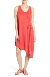Women's Matty M Asymmetrical Shift Dress With Side Tie Poppy