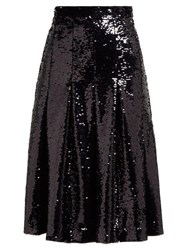 Simone Rocha Sequinned Pleated Midi Skirt Black