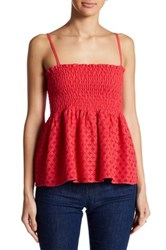 1.State Smocked Peplum Camisole Red