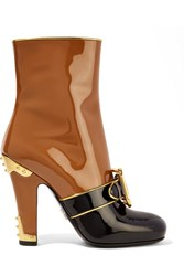 Prada Buckled Two Tone Patent Leather Boots Tan
