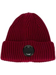 C.P. Company Cp Lens Ribbed Beanie Red
