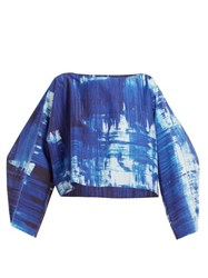 Issey Miyake Brush Stroke Print Cotton Blend Cropped Top Blue Print