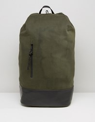 Asos Backpack With Duffle Fastening Khaki Green