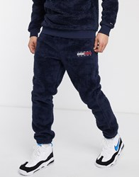 Tommy Jeans Plush Fleece Flag Logo Cuffed Joggers In Navy
