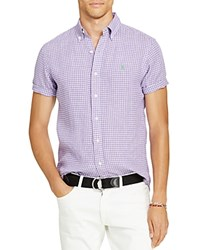 Polo Ralph Lauren Checked Linen Classic Fit Button Down Sport Shirt Purple White