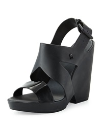 Melissa Shoes Flip Jelly Wedge Sandal Black