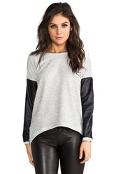 Generation Love Bobo Leather Sleeve Top Gray