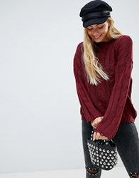 Brave Soul Bangla Cable Knit Jumper With Distressing Detail Berry Red Navy