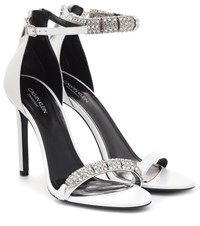 Calvin Klein 205W39nyc Camelle Embellished Leather Sandals White