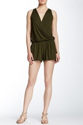 Michael Stars Sleeveless Surplice Romper Green