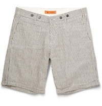 Barena Striped Linen And Cotton Blend Shorts Blue