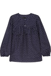 J.Crew Dorito Printed Cotton And Silk Blend Voile Blouse Navy