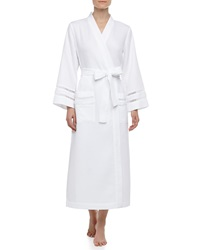 Oscar De La Renta Spa Oasis Crochet Trim Long Robe White