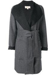 Michael Michael Kors Belted Contrast Coat Polyester Wool Xs Grey