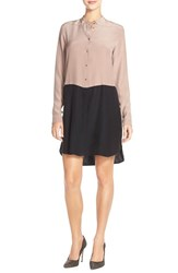 Women's Amanda Uprichard 'Weston' Colorblock Silk Charmeuse Shirtdress Taupe Black