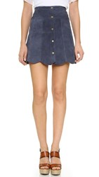 Stoned Immaculate Marsha Suede Petal Skirt Navy