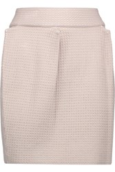 M Missoni Pleated Stretch Open Knit Mini Skirt Taupe