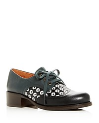 Chie Mihara Tina Woven Leather Block Heel Oxfords Black