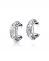 Alor Classique Micro Cable Pave Diamond Hoop Earrings Gray