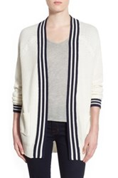 Trouve Stripe Front Cardigan White