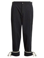 Loewe Striped Cotton Trousers Navy Multi