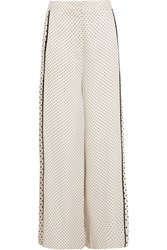 Zimmermann Polka Dot Satin Wide Leg Pants White