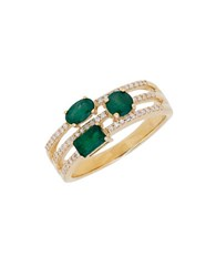 Lord And Taylor Emerald Diamond 14K Yellow Gold Ring