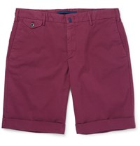 Incotex Slim Fit Stretch Cotton Twill Shorts Burgundy
