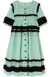 Molly Goddard Macy Broderie Anglaise Trimmed Gingham Cotton Coat Green