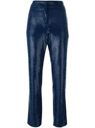 Emilio Pucci Sequined Cropped Trousers Blue