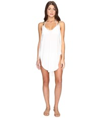 Lucky Brand Coastal Palms Tulip Side Dress Cover Up Ivory Women's Swimwear White