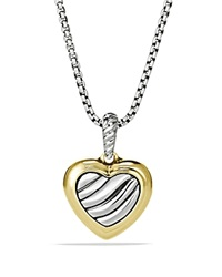 David Yurman Cable Heart Pendant On Chain Silver Yellow Gold